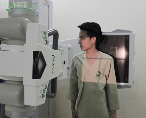 X-ray machine (straight, inclined position) in Thu Cuc Hospital.